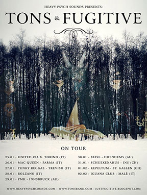 Tons/Fugitive - January 2013 Tour poster