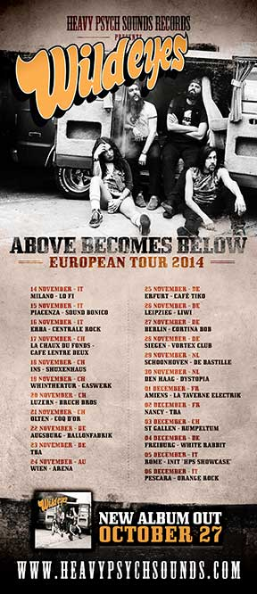 Wild Eyes European Tour poster - November/December 2014
