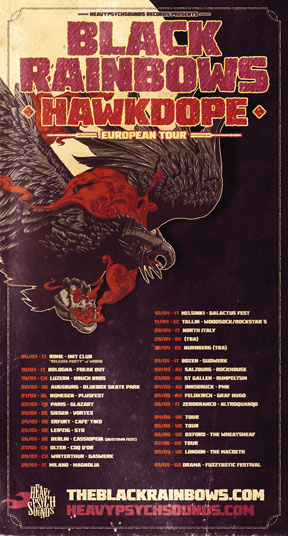 Black Rainbows 'Hawkdope' - European Tour poster - March/June 2015